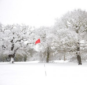 Chingford Golf Course in snow